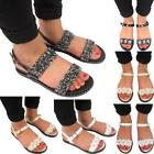 Womens Diamante Flower Ankle Strap Flat Womens Buckle Jelly Sandals Slippers UK