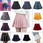 Women High Waist Pleated Skirt School Girl Plaid A-Line Flare Skater Short Skirt