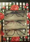 BETSEY JOHNSON 3 Reading Glasses Black, Brown Tortoise, Clear w/Floral Arms NIB