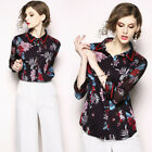 2018 women's fashion temperament OL floral chiffon shirt tops blouse outwear new