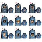 School Bags Set Cowboy Cat Girls Backpack Kids Food Lunch Handbags Bookbags Blue