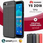 FUNDA TPU Gel para HUAWEI Y5 2018 efecto cuero carbon rugged case leather