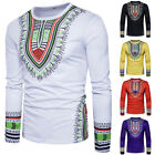 Внешний вид - Men's African Shirt Dashiki Tribal Print Succunct Hippie T-Shirt Tee Tops Blouse