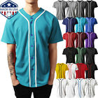 Mens Baseball JERSEY Raglan Plain T Shirt Team Sport Button Fashion Tee Casual image
