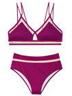 Victoria's Secret swim set Mesh Strappy Crop top highwaist bikini purple bottom $79.0 USD on eBay