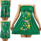 Ladies Jade Green Butterfly Floral Leaves Boob Tube Stretch Sheering Mini Tops