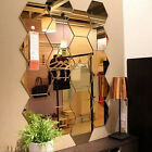 Uk_ 12pcs Mirror Hexagon Removable Acrylic Wall Stickers Art Diy Home Decor Temp