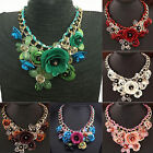 Uk_ Choker Collar Crystal Pendant Jewelry Statement Chunky Flower Necklace Hot