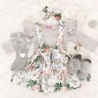 Newborn Kid Baby Girls Clothes Tops Romper Bodysuit Floral Bib Skirt Outfits Set