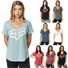Fox Racing Responded V-Neck Womens Shirts Ladies Tees Rolled Sleeve Tops T-Shirt