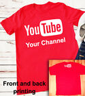 YouTube logo T-shirt (Personalized Channel) broadcast youtuber Red Shirt