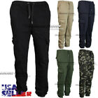 Mens Casual Pants Cargo Pockets Twill Stretch Jogger Slim Fit Straight Trouser