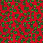 Printed Polyester Cotton Fabric - Christmas Holly - Red - 856