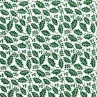 Printed Polyester Cotton Fabric - Christmas Holly Leaf - Green - 877