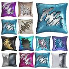 "16"" Mermaid Pillow Case Reversible Sequin Glitter Sofa Waist Throw Cushion Cover image"