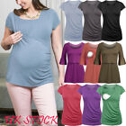 Pregnant Women Solid Plain Nursing Tops Maternity Breastfeeding T-shirt Blouse