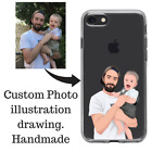 Personalised Photo to illustratoon Drawing Father Dad gift iPhone 5 6 7 8 X