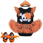 Baby Girls Halloween Outfits Romper Tutu Dress Headband Shoes Party Clothes Set