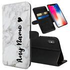Personalised NAME Marble Printed Stand Wallet Case for Apple iPhones 0035