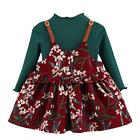 Toddler Kids Baby Girls 2Pcs Long Sleeve Kintted Shirt+FloralDress Set Clothes