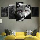 Framed Home Decor Animals White Black Wolf Couple Canvas Print painting Art 5PCS