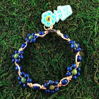 HOTI Hemp Handmade Blue Green Flower Floral Anklet Beaded Wood Ankle Bracelet