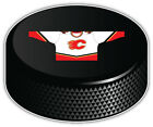 Calgary Flames White Shirt NHL Logo Hockey Puck Bumper Sticker -- 3'',5'' or 6'' $3.5 USD on eBay