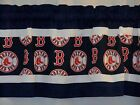 "Boston Red Sox MLB Baseball Blue Pieced Valance Panel Choose:40"", 52"", 80"" x 13"" on Ebay"
