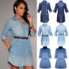 Women Lady Vintage Spring Long Sleeved Slim Casual Denim Jea