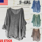 US Women Oversized Knitting Sweater Loose Blouse Pullover Plus Size Tops Shirts