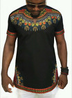 African Mens Dashiki Shirt Hippie Vintage Boho Tribal Printed Blouse STYLISH Top