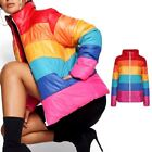 Ladies Bubble Rainbow Puffer Padded Womens Quilted Jacket Coat