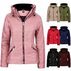 Womens Puffer Ribbed Faux Fur Bubble Padded Ladies Jacket Coat Top