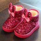 2019 New kids Girls Fur Lined Ankle boots Casual glitter Sequins Snow warm shoes