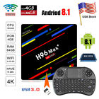 H96MAX+ Android 8.1 Snappy TV Box Quad Core 4GB+64GB Dual WIFI Streamer+Keyboard