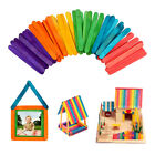 Hot! 50Pcs Wooden Popsicle Sticks for Party Kids DIY Crafts Ice Cream Pop 2 Size