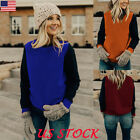 Womens Autumn Winter Long Sleeve Splice Color Jumper Tops Casual Pullover Blouse