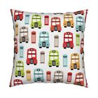 London Travel Uk Bus Retro Throw Pillow Cover w Optional Insert by Roostery
