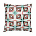 Mint Coral Geometric Retro Mid Throw Pillow Cover w Optional Insert by Roostery