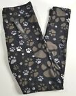 One Size OS/Plus Size PS black gray dog paw print Leggings D