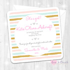 Personalised Pink & Blue Stripe Announcement Cards - Baby Girl - Thank You Cards
