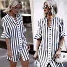 Sexy Women Striped V-Neck Dress Casual Shirt Half-sleeved Loose Button Tops 41