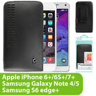 BLACK LEATHER OPEN TOP HOLSTER CASE POUCH FOR FOR LG PHONES