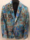 Men's Turquoise Shiny Micro Polyester Floral Print Fashionable Blazer New