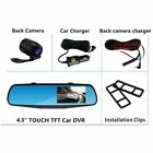 "HD 1080P Dual Lens 4.3"" Vehicle Rearview Mirror Camera Recorder Car DVR Dash Cam"