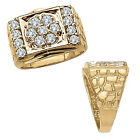 2 Carat White Diamond Fancy Design Cluster Mens Anniversary Ring 14K Yellow Gold