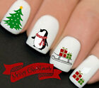 Christmas Penguin Sleigh Nail Art Water Transfers Decals Stickers Wraps Gift 150