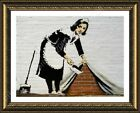 Cleaning Lady by Banksy | Framed canvas | Wall art oil painting artwork poster