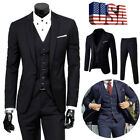 US Men Slim Business Formal Wedding 3-Piece Suit Leisure Blazer Business Coat