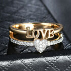 Love & Heart Crystal Sapphire Silver & Gold Filled Women Lady Engagement Rings